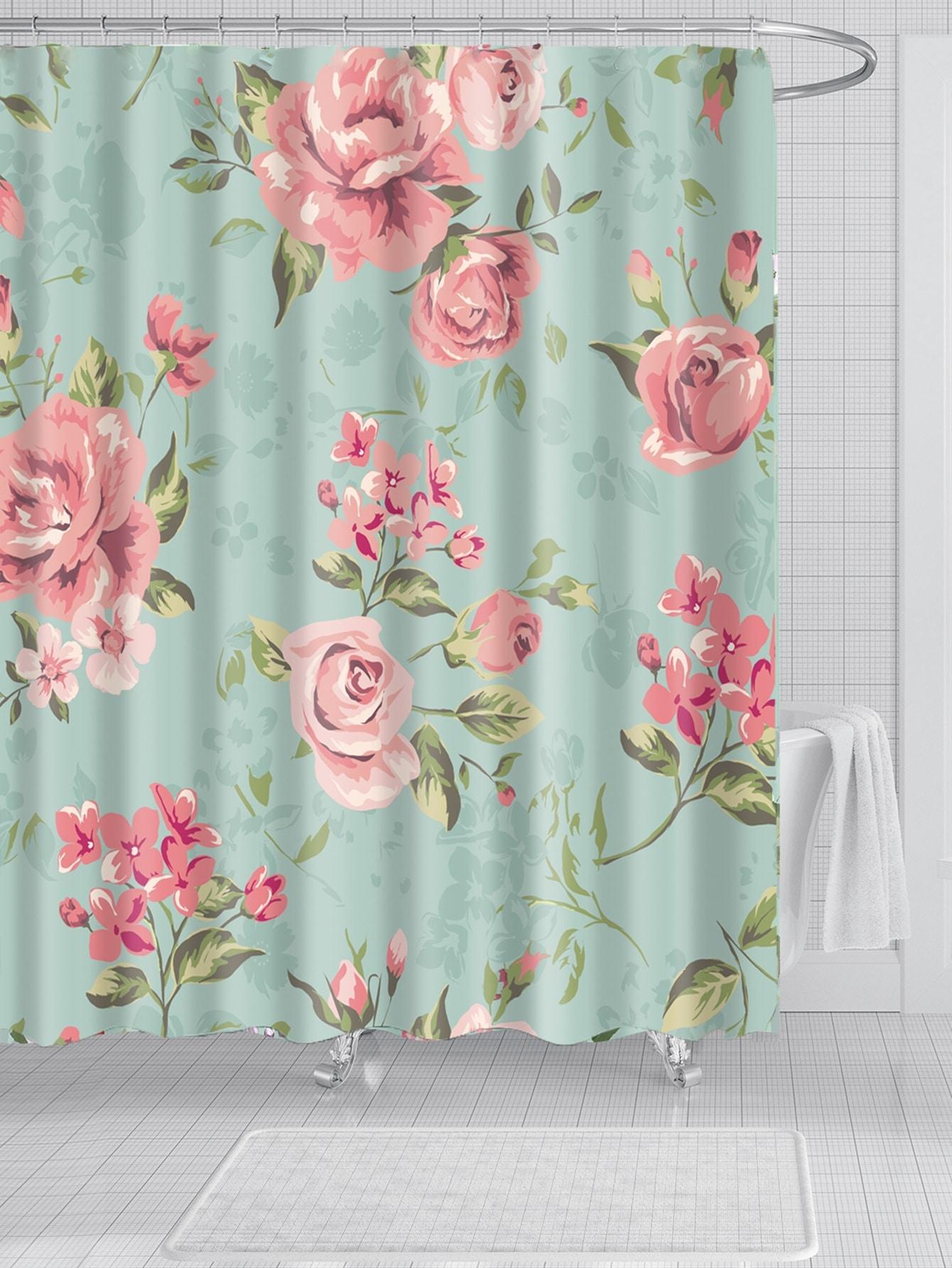 rideau de douche avec imprim floral avec crochet 12. Black Bedroom Furniture Sets. Home Design Ideas