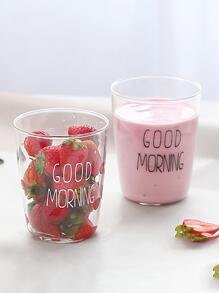 Slogan Print Glass Cup 1pc