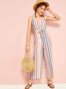 Colorful Striped Tie Front Cami Jumpsuit
