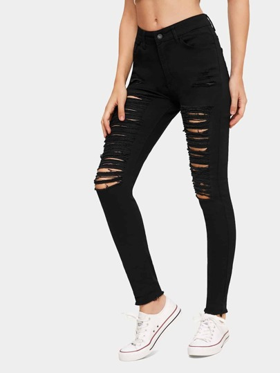 Solid Ripped Slim Fit Jeans