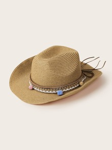 Pom Pom Decor Bow Knot Floppy Hat