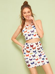 Butterfly Print Mesh Panel Halter Top With Pencil Skirt
