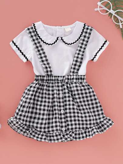 Baby Girl Wave Tape Romper With Gingham Pinafore Skirt