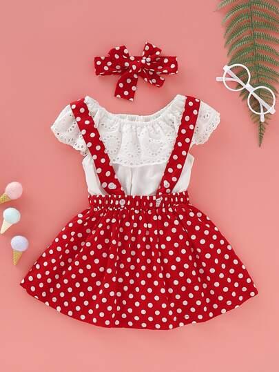 f54f6e58c Baby Girl Eyelet Embroidery Romper & Polka Dot Pinafore Skirt & Headband