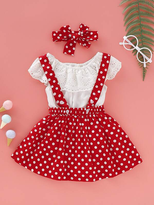ac7b28d3ce Baby Girl Eyelet Embroidery Romper & Polka Dot Pinafore Skirt & Headband
