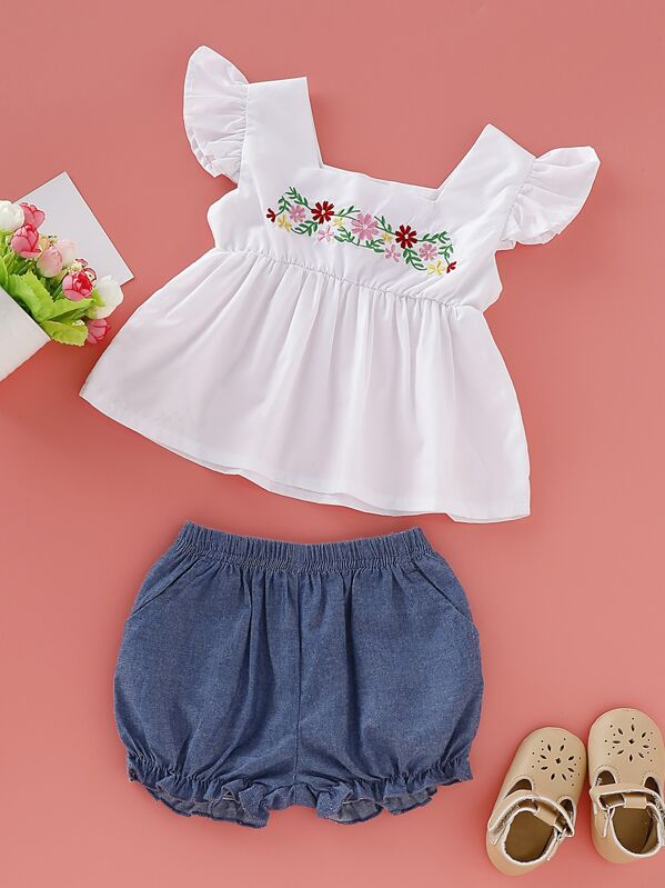 f000d565c2 Baby Girl Embroidery Square Neck Peplum Top With Denim Shorts