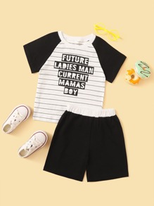 Toddler Boys Contrast Raglan Sleeve Slogan Print Tee With Shorts