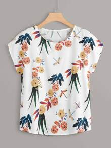 Plus Floral Print Curved Hem Blouse