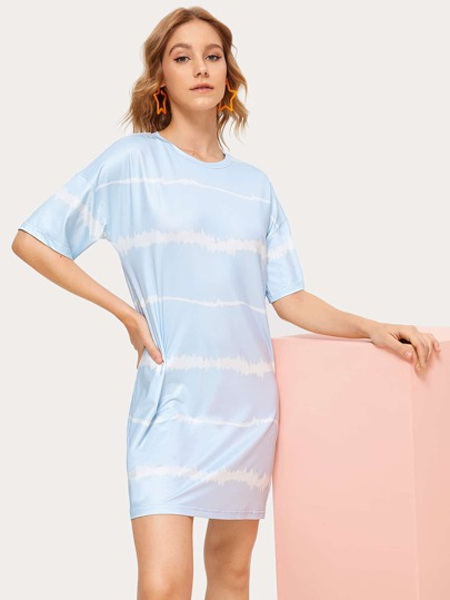 Striped Tie Dye Shift T-shirt Dress