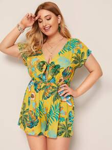 Plus Tropical Print Tie Front Plunging Neck Romper