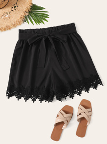 Plus Contrast Lace Hem Self Tie Shorts