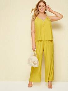 Plus Button Cami Top With Wide Leg Pants