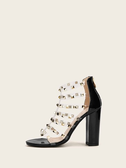 a9c20a881 Studded Decor Clear Strappy Chunky Heels