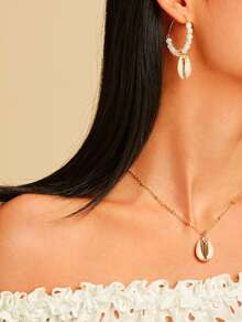 Shell Charm Beaded Hoop Earrings & Necklace Set 3pcs
