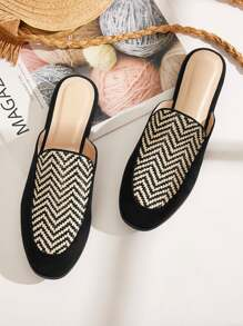 Plaited Detail Chevron Flat Mules