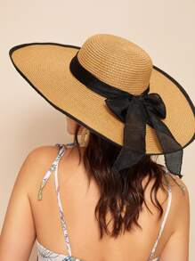 Bow Tie Decor Straw Hat