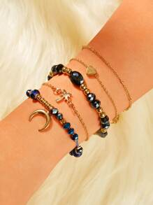 Moon & Heart Decor Chain Bracelet 5pcs