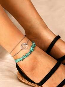 Ring & Turquoise Decor Chain Anklet 3pcs
