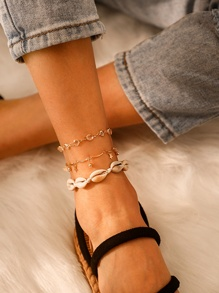 Shell & Rhinestone Decor Chain Anklet 3pcs