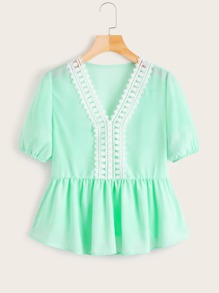 V-neck Lace Panel Peplum Blouse