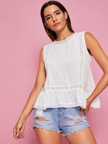 Lace Panel Tulip Back Peplum Blouse
