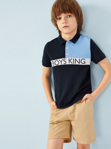 Boys Colorblock Letter Print Polo Shirt