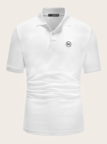 Men Letter & Circle Embroidery Polo Shirt