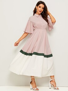 Bell Sleeve Colorblock Swing Shirt Dress