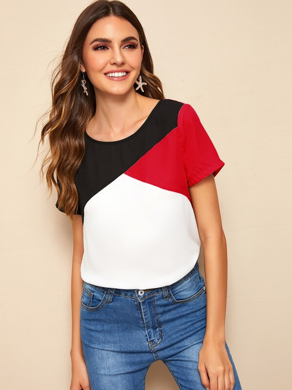 cd283a7df0 Cut-and-sew Short Sleeve Top