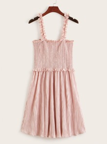 Frill Trim Smocked Pleated Slip Dress