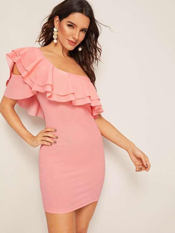 752b1bf78bd1 One Shoulder Layered Ruffle Trim Bodycon Dress | SHEIN