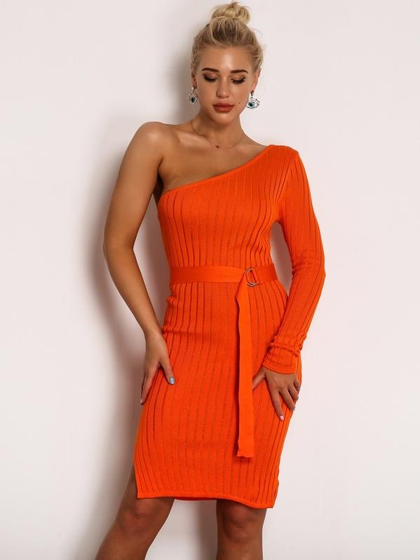 Joyfunear Neon Orange One Shoulder Rib Knit Belted Pencil Dress by Sheinside