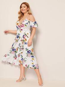 b76a7cf6af Plus Floral Print Ruffle Hem Wrap Belted Dress | SHEIN UK