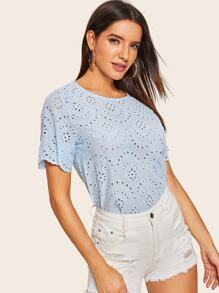 Scallop Eyelet Embroidery Blouse