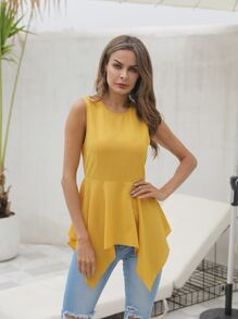 Asymmetrical Hem Sleeveless Blouse