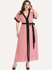 Plus Contrast Piping Trim Belted Dress