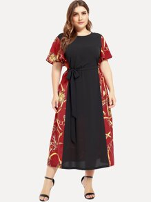 Plus Colorblock Chain Print Tie Waist Dress