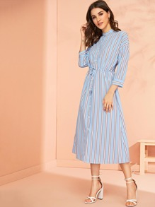Drawstring Waist Striped Shirt Dress