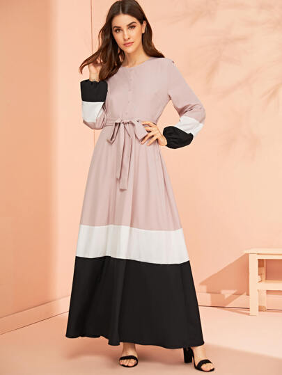 Lantern Sleeve Button Front Colorblock Belted Dress