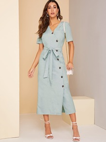 Surplice Neck Button Front Belted Dress