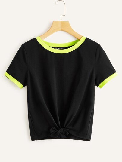 3836438f Knot Front Neon Lime Ringer Tee