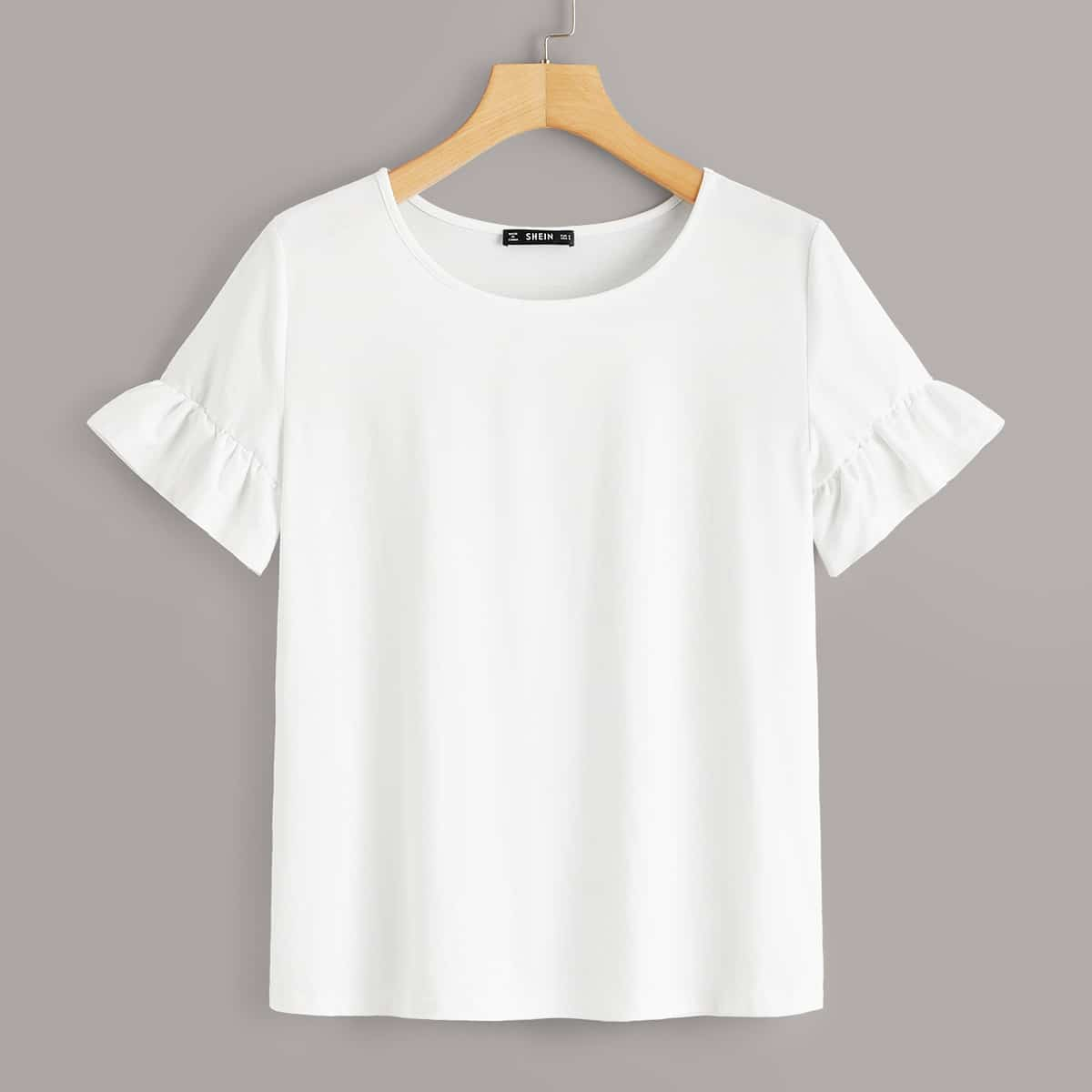 Wit Casual Vlak T-shirts Rimpeling