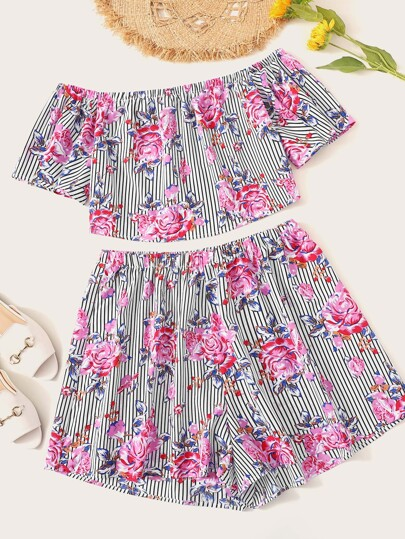 Plus Striped and Floral Bardot Top and Shorts Set
