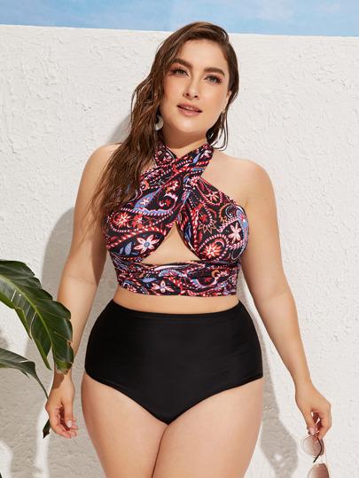 3bff787fd73 Plus Criss Cross Top With High Waist Bikini Set