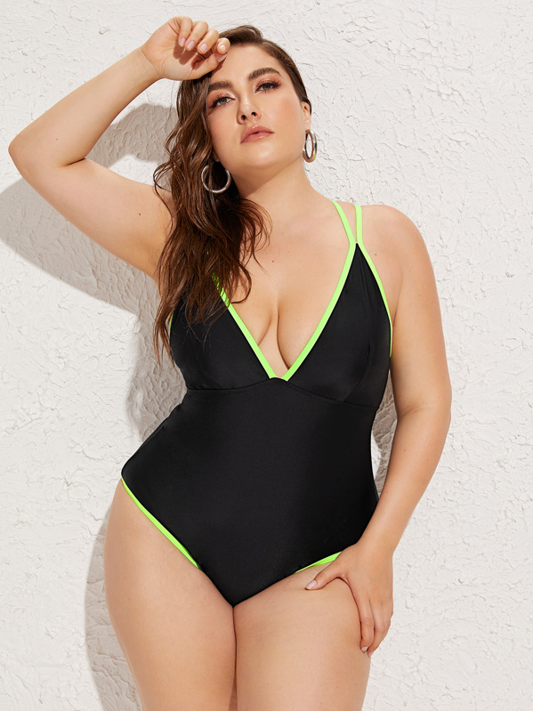 433801b8fe Plus Contrast Binding Criss Cross One Piece Swimwear | SHEIN