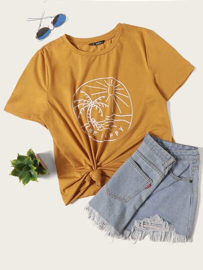 Outline Graphic Round Neck Tee