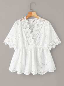 Eyelet Embroidery Scallop Peplum Blouse