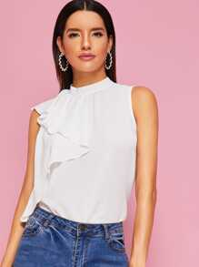 Solid Tie Back Ruffle Sleeveless Blouse