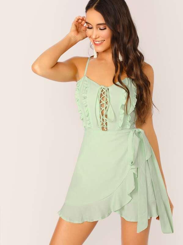 f41ce462686 Lace Up Ruffle Trim Sleeveless Mini Dress