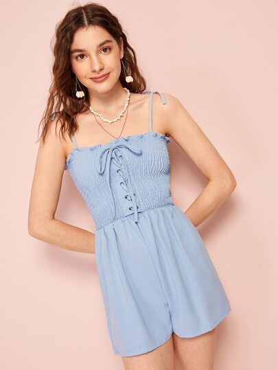 Frill Grommet Lace-up Shirred Cami Romper